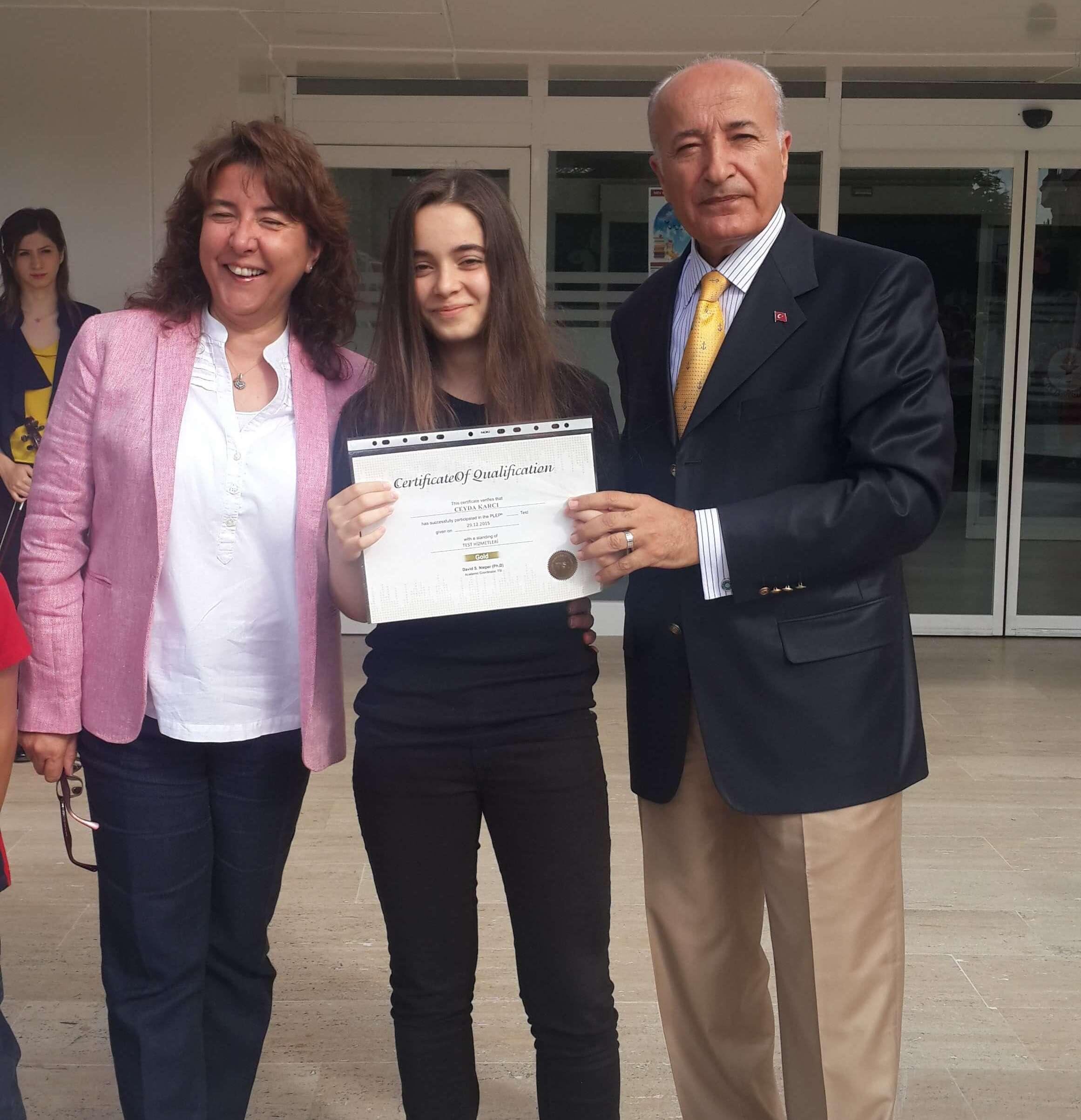 Öğrencimiz Plep Yabancı Dil Sınavında Altın Etiketli Sertifika Aldı