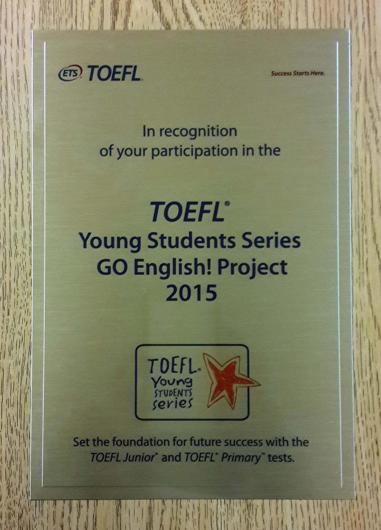 Okulumuz TOEFL Go English Projesi'nde Öğrencilerimizin Hazırladığı Proje ile Başarı Plaketi Almaya Hak Kazandı