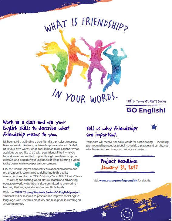 Öğrencilerimizin 'TOEFL Young Students Series GO English!' Projesi