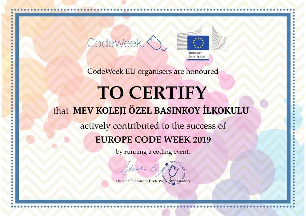Europe Code Week 2019 Sertifikamız